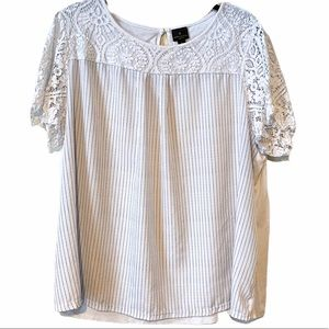 Worthington Hi-Low Lace and Pinstripe Top